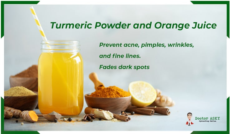 Turmeric Powder and Ornage Juice